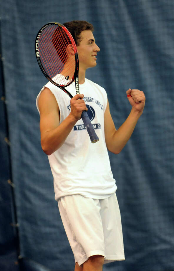 Doane Stuart's Lars Olson celebrates a good shot during his singles game against Bethlehem's Rohin Bose in the Section II boys' tennis finals on Thursday, May 23, 2013, at Sportime in Rotterdam, N.Y. (Cindy Schultz / Times Union) Photo: Cindy Schultz / 00022553A