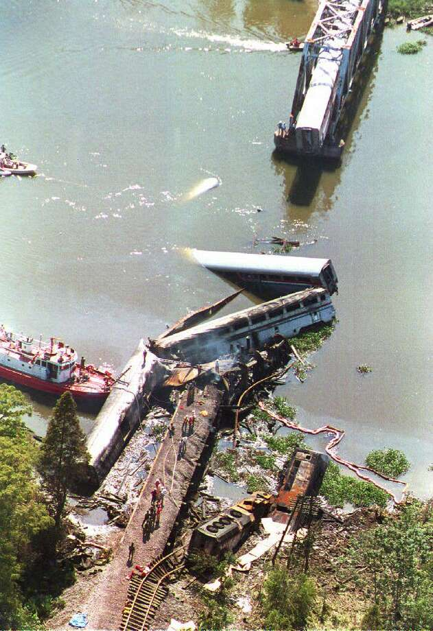 "1993: 47 people died aboard the Amtrak train ""Sunset Limited,"" traveling from Los Angeles to Miami after a barge struck the CSXT Big Bayou Canot rail bridge near Mobile, Ala. Photo: DAVID MURRAY, File / AFP"