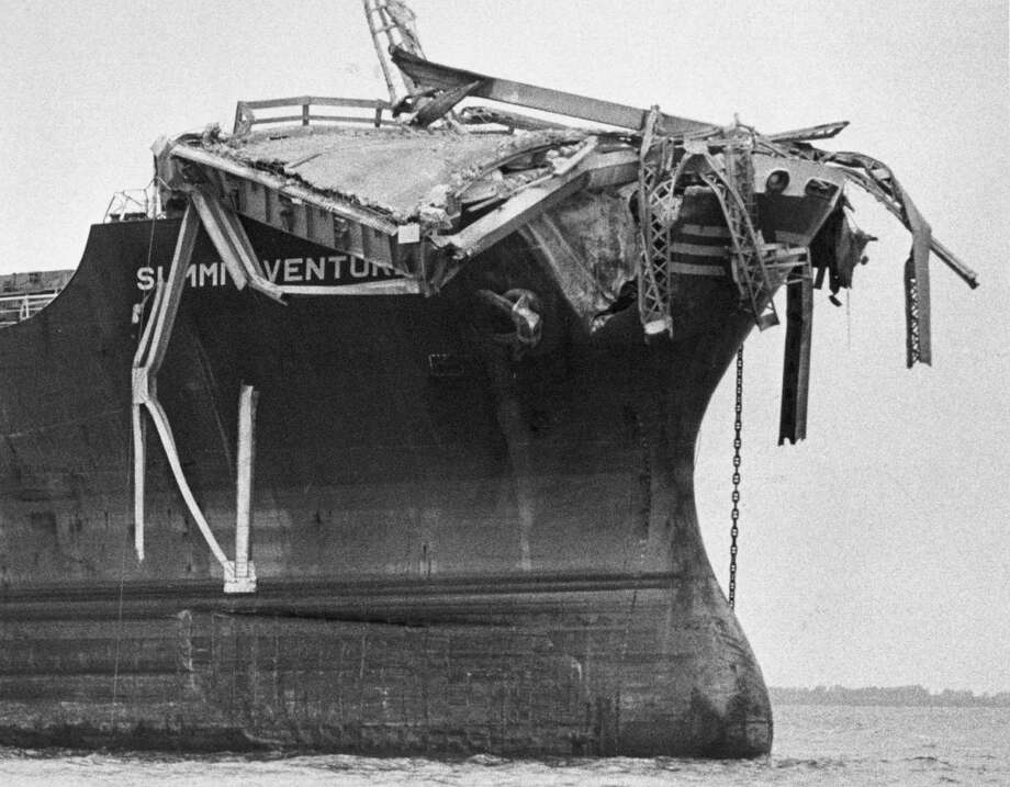"1980: The freighter ""Summit Venture"" struck the Sunshine Skyway Bridge during a thunderstorm near St. Petersburg, Florida, resulting in a collapse that killed 35. Photo: Keystone, File / Hulton Archive"