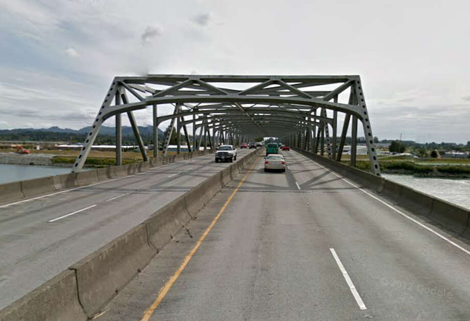 A Google Street View image of the north end of the Interstate 5 bridge over the Skagit River, in the southbound direction. Minor distortions in the image are common in this format from knitting together of multiple images. The date of the image is unknown. Photo: Google Street View