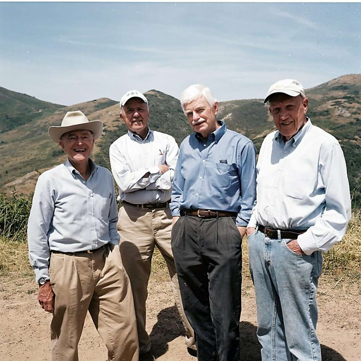"Martin Rosen, Huey Johnson, Doug Ferguson, Robert Praetzel in Nancy Kelly's ""Rebels With a Cause."""