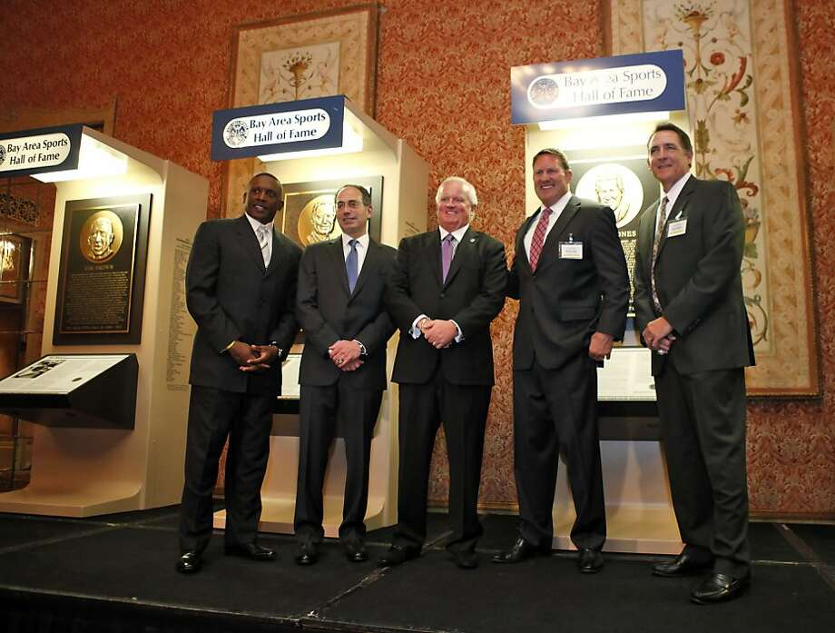 (l-r) Tim Brown, Wally Haas, Tom Martz (chair of BASHOF) Brent Jones and Dave Righetti gather on stage before a group photo on Thursday. Bay Area sports notables gathered at the Westin St. Francis to honor the newest inductees into the Bay Area Sports Hall of Fame in San Francisco, Calif., on Thursday, May 23, 2013. New inductees include Tim Brown of the Raiders, Dave Righetti of the Giants, Walter A. Haas, Jr., and Brent Jones of the 49ers. Photo: Carlos Avila Gonzalez, The Chronicle