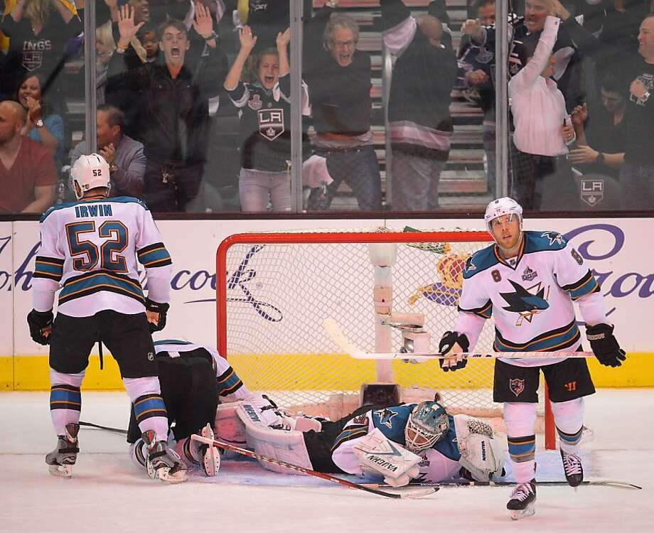San Jose Sharks center Joe Pavelski (8), goalie Antti Niemi (31) and defenseman Matt Irwin (52) react after the Los Angeles Kings scored in the second period during Game 5 of the Western Conference semifinals in the NHL hockey Stanley Cup playoffs, Thursday, May 23, 2013, in Los Angeles. (AP Photo/Mark J. Terrill) Photo: Mark J. Terrill, Associated Press