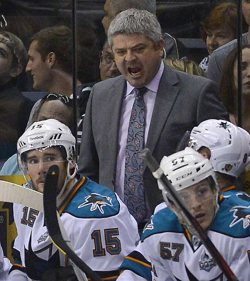 San Jose Sharks coach Todd McLellan reacts as he watches against the Los Angeles Kings during the third period in Game 5 of the Western Conference semifinals in the NHL hockey Stanley Cup playoffs, Thursday, May 23, 2013, in Los Angeles. The Kings won 3-0. (AP Photo/Mark J. Terrill) Photo: Mark J. Terrill, Associated Press