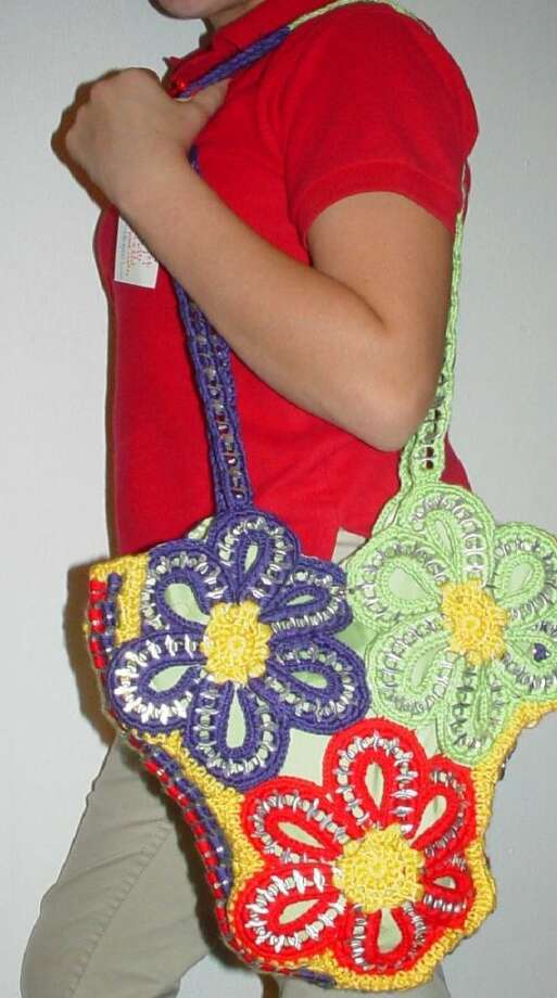 An intricate floral handbag