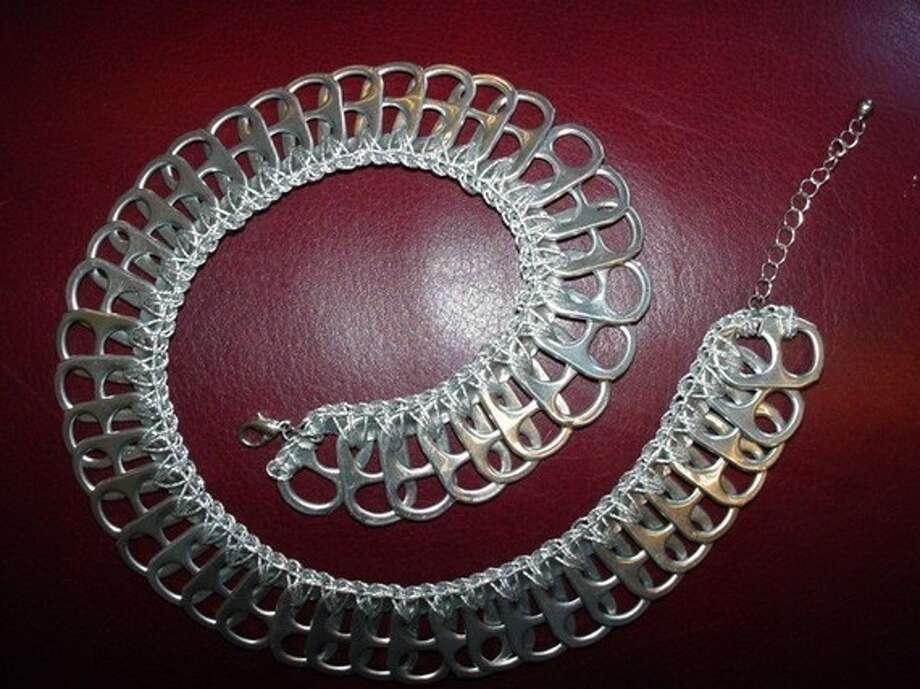 Silver pop tab necklace
