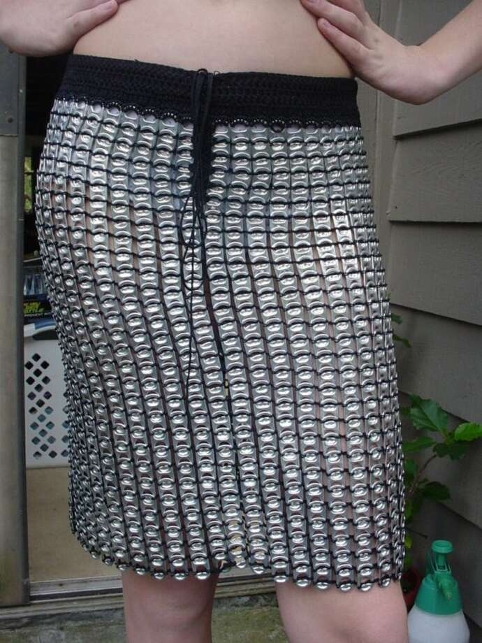 A lightweight skirt crocheted with pop tabs.