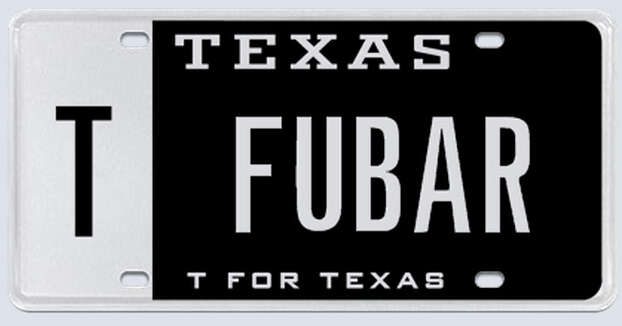 """What the applicant said: """"I am opening a restaurant/bar in the Houston Heights called FUBAR. It has a military theme and we will offer food and beverage discounts to all active military personnel."""" Photo: MyPlates.com"""