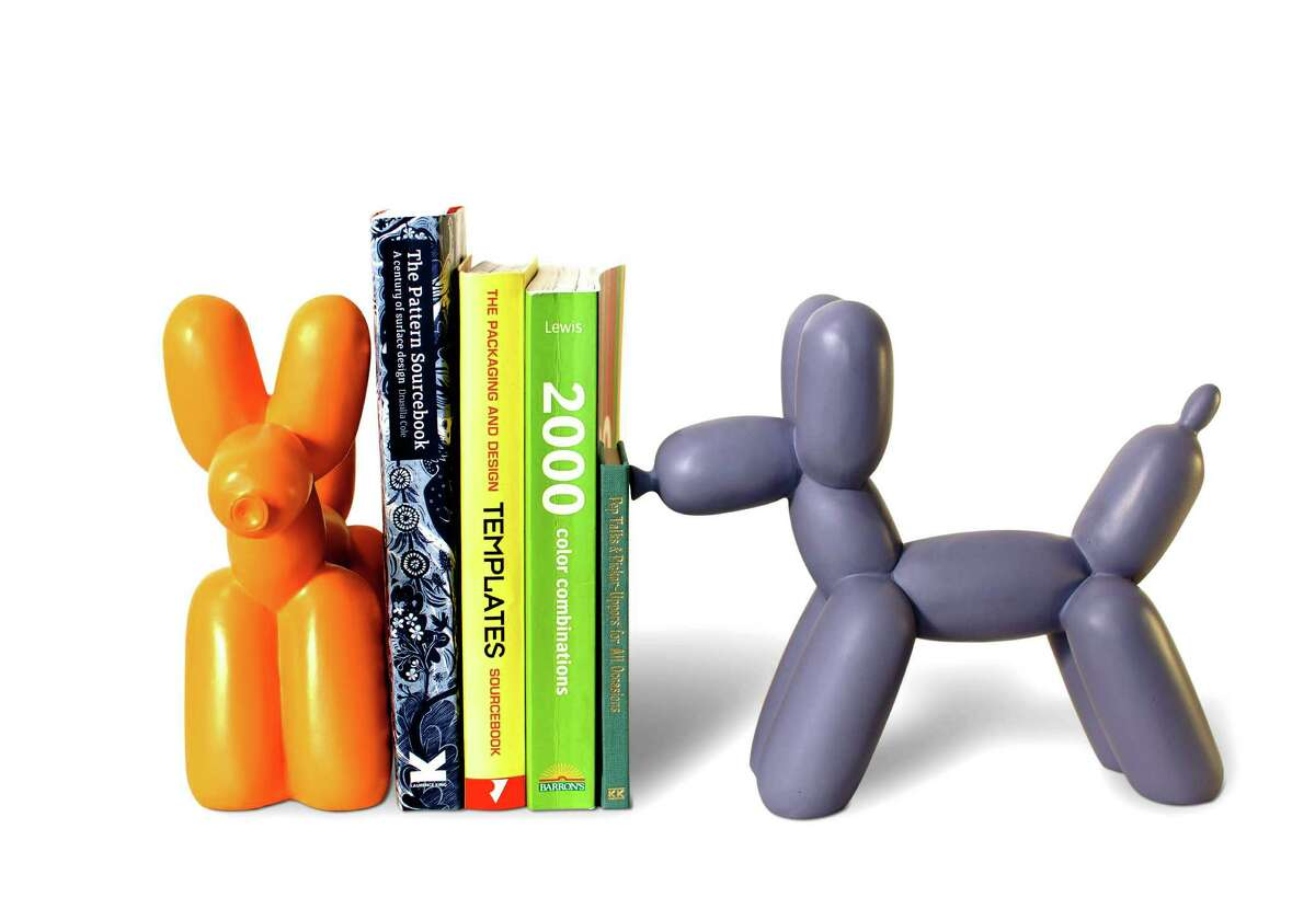 Made from resin, these balloon animal bookends in vibrant orange and purple are not only cute they're deceptively solid; $40 at Contemporary Arts Museum Houston.