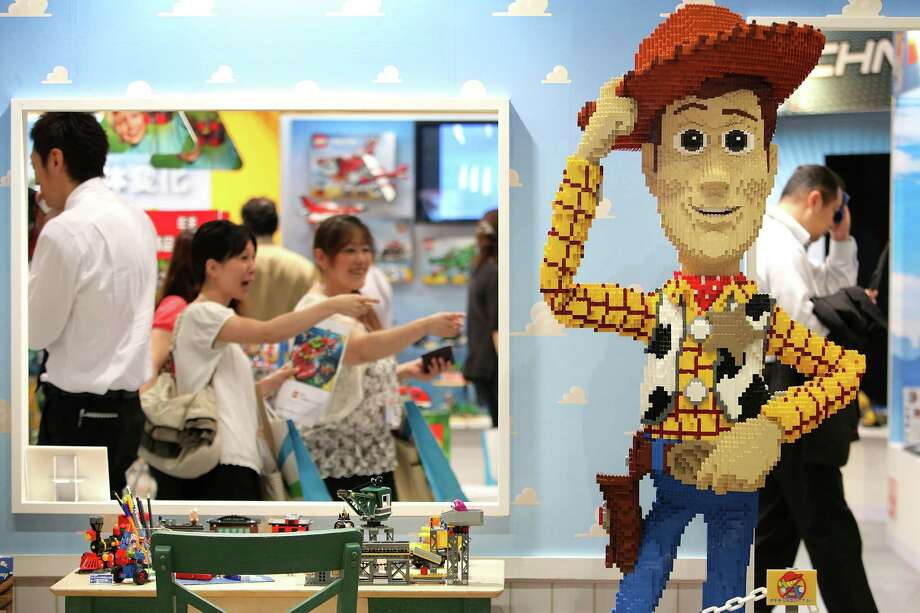 Toy Story 3 character Woody made of Lego building blocks is displayed during the International Tokyo Toy Show 2010 at Tokyo Big Sight on July 15, 2010 in Tokyo, Japan. The toy fair, which will be held until July 18, attracts traders and visitors by introducing the latest products presented by various toymakers from Japan and abroad. Photo: Kiyoshi Ota, Getty Images / 2010 Getty Images