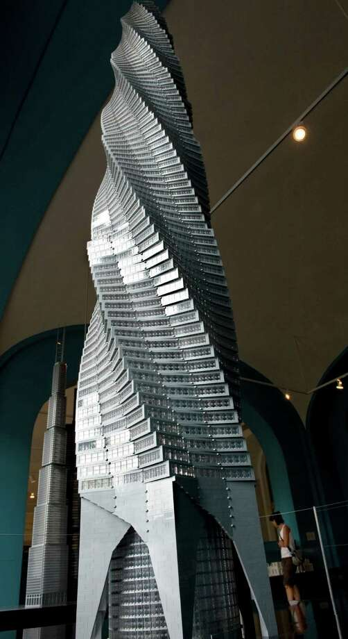 A 10-foot-tall depiction of the Chicago Spire, made from 17,450 Legos, is on display at the National Building Museum in Washington, D.C. Photo: The Washington Post, Washington Post/Getty Images / 2010 The Washington Post