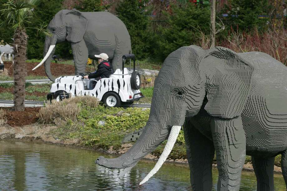 Lego elephants roam the safari in Legoland Guenzburg, Germany. Photo: Ulrich Baumgarten, U. Baumgarten Via Getty Images / 2006 Ulrich Baumgarten