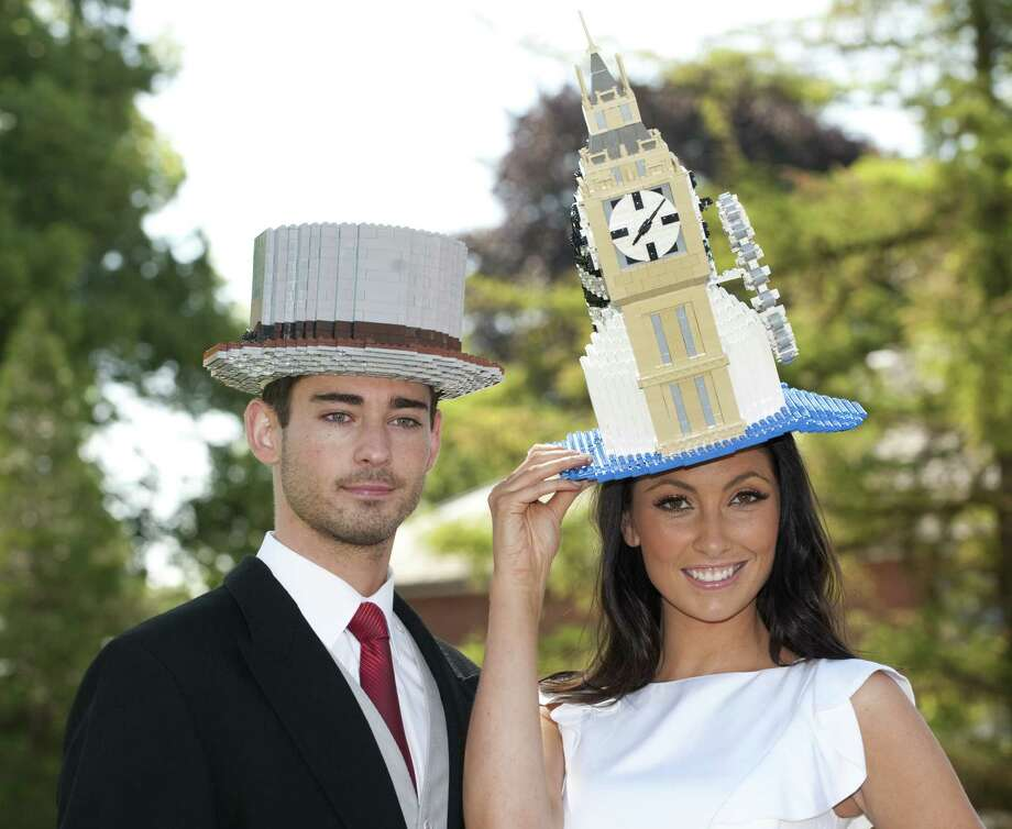 Of course, you can't have a proper English Lego celebration without fancy Lego hats. Photo: Mark Cuthbert, UK Press Via Getty Images / UK Press