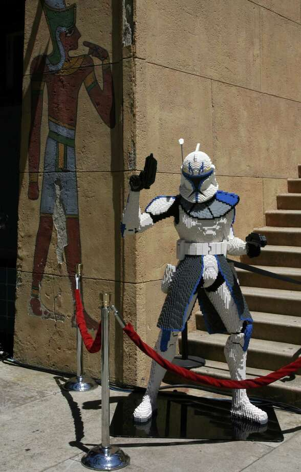 "A Lego Storm Trooper guards the Premiere of ""Star Wars: The Clone Wars"" on August 10, 2008  at the Grauman's Egyptian Theatre in Los Angeles. Photo: Frazer Harrison, Getty Images / 2008 Getty Images"