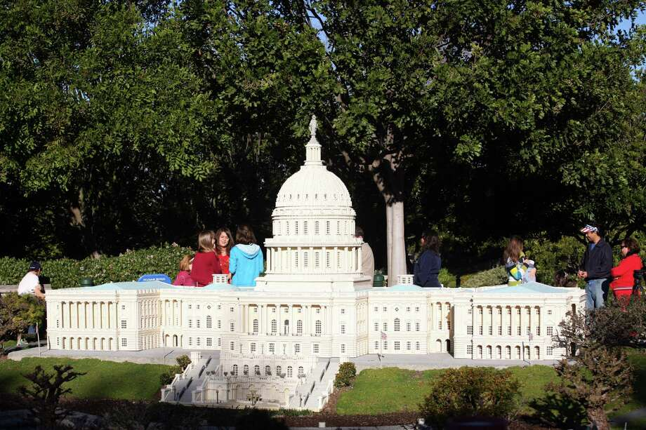 Lego Barack Obama takes the presidential oath of office on the steps of the Lego Capitol on January 16, 2009 in Legoland park in Carlsbad, Calif. Photo: VALERIE MACON, AFP/Getty Images / 2009 AFP