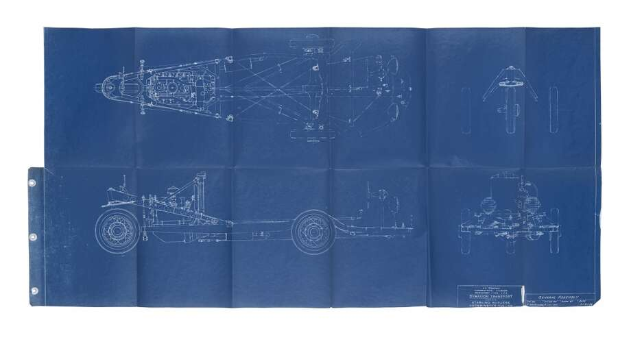 Another of the Dymaxion blueprints that were recently found in the attic of a home in Dudley, Mass. (Courtesy Wright auction house, Chicago)