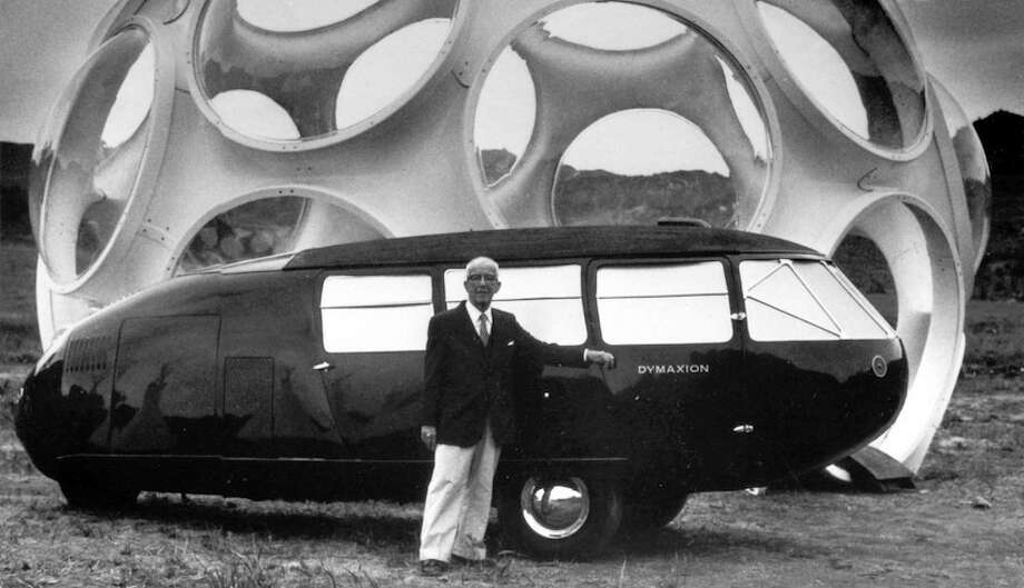 R. Buckminster Fuller standing with one of his Dymaxion cars. (Courtesy Wright auction house, Chicago)