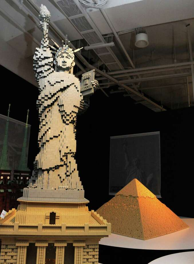 A Lego Statue of Liberty and Egyptian pyramid are displayed at a press preview of an exhibition in Tokyo on November 1, 2012. Photo: AFP/Getty Images / AFP
