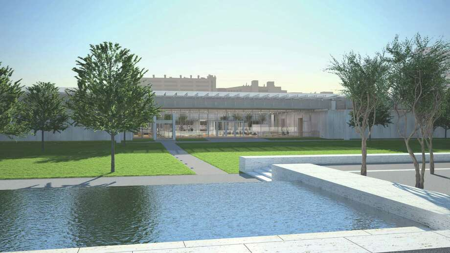In this rendering, the new pavilion for the Kimbell Art Museum faces Louis Kahn's original building and also brings the west garden into focus.