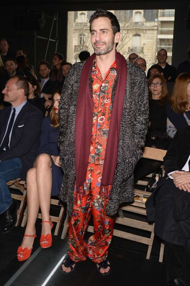 And here's Marc Jacobs in a matching floral pajama ensemble and robe during the Miu Miu Fall/Winter 2013 Ready-to-Wear on March 6, 2013 in Paris, France.