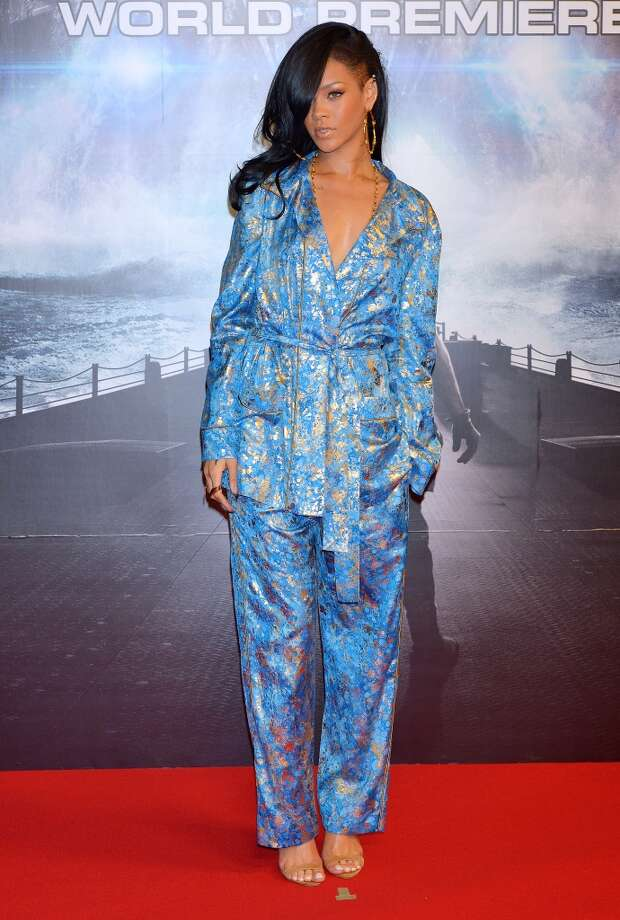 Actress/singer Rihanna attends the 'Battleship' Japan Premiere on April 3, 2012 in Tokyo, Japan, wearing cool blue pajamas.
