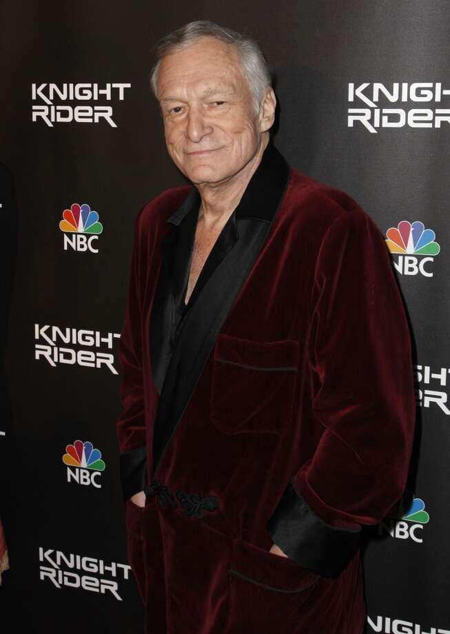 Hugh Hefner, pictured here on February 12, 2008, may just be the king of wearing PJs in public.