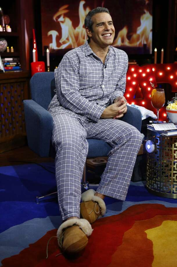 "Andy Cohen looking ready for bedtime on the ""Watch What Happens Live"" set."