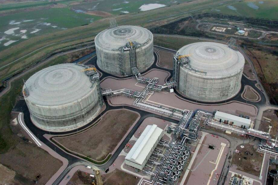 An aerial view shows the Isle of Grain LNG import terminal near London.