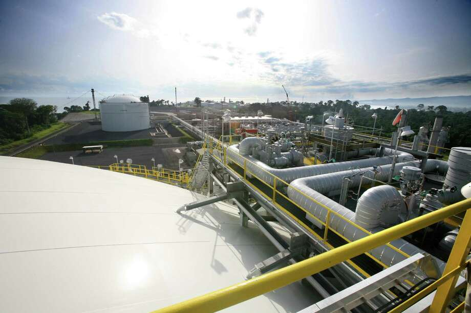 The view from atop an LNG tank captures the landscape of Equatorial Guinea capital Malabo.