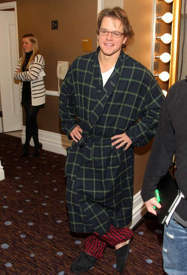 Actor Matt Damon arrives in his pajamas at the 48th Annual ICG Publicist Awards at The Beverly Hilton hotel on February 25, 2011 in Beverly Hills, California.