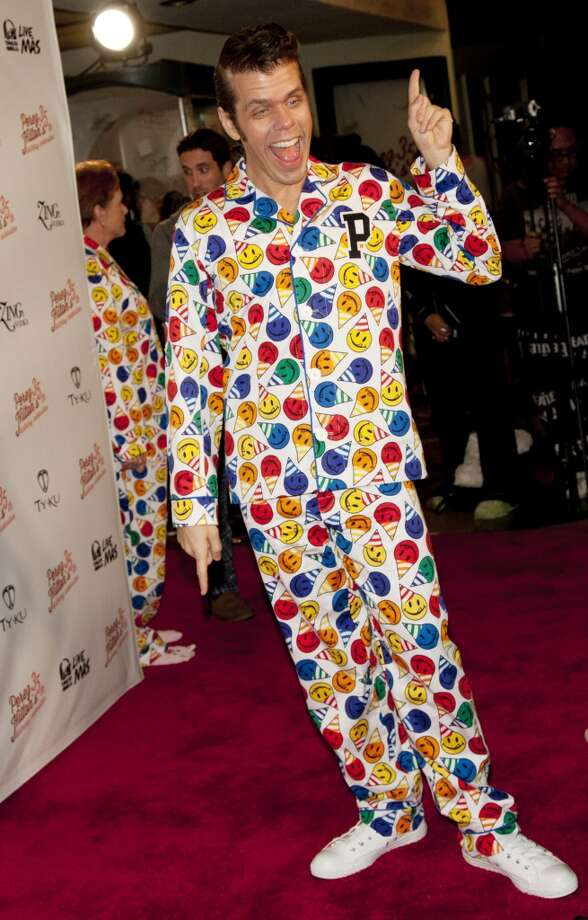 Blogger and TV personality Mario Armando Lavandeira, Jr. aka Perez Hilton arrives at his 35th Birthday Party Extravaganza, at El Rey Theatre on March 23, 2013 in Los Angeles. The theme? A pajama party, of course.