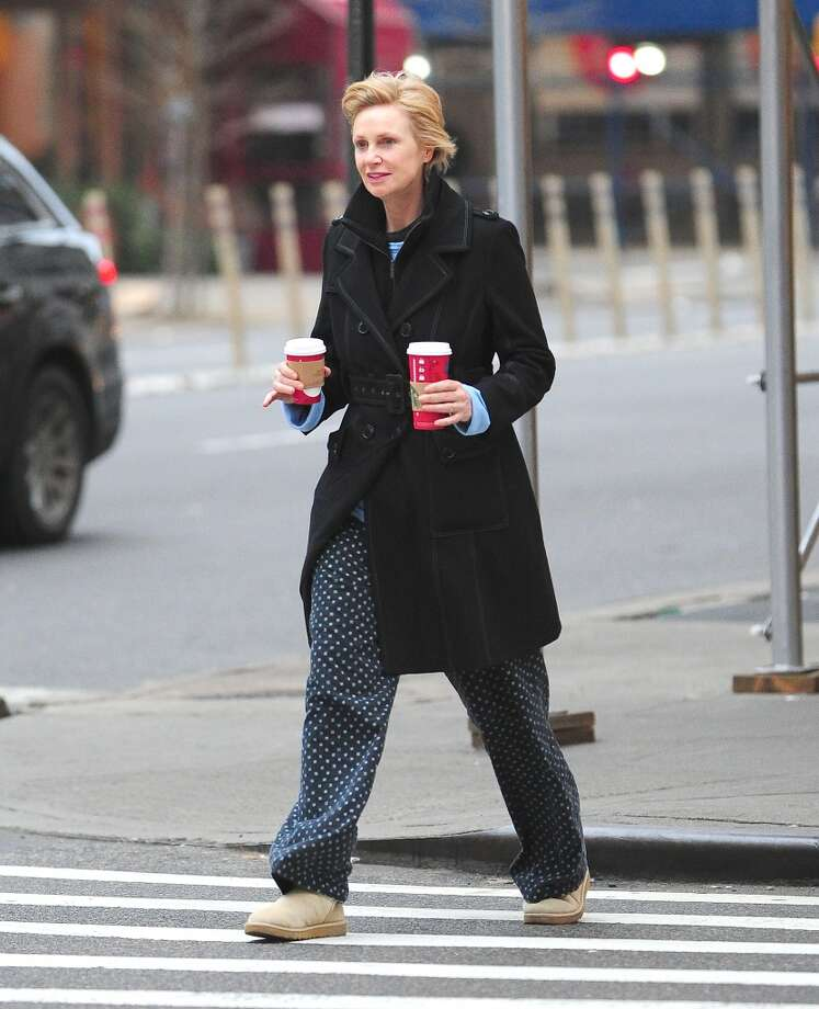 Jane Lynch is seen sporting bedtime attire in Soho on January 6, 2013 in New York City.