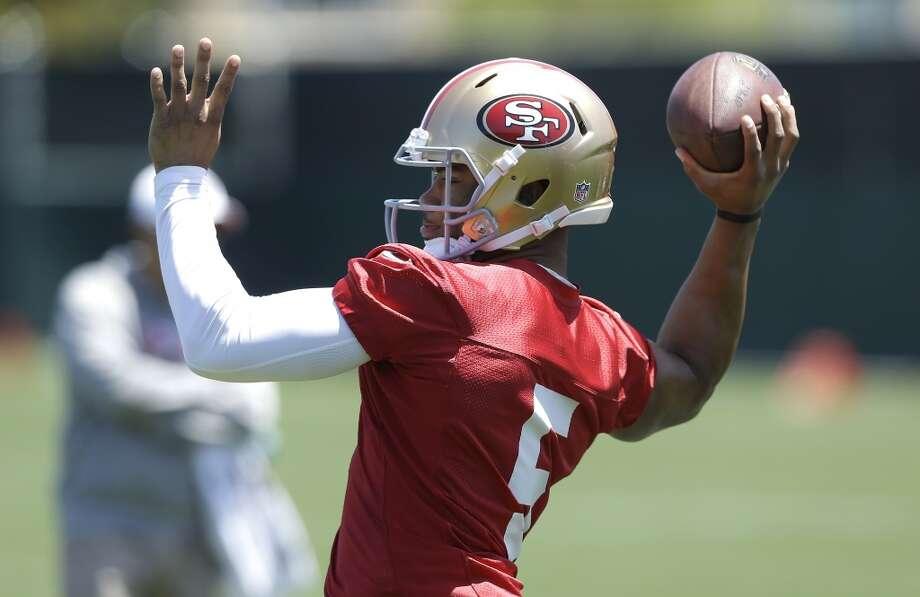 San Francisco 49ers quarterback B.J. Daniels practices at an NFL football training camp in Santa Clara, Calif., Wednesday, May 22, 2013. (AP Photo/Jeff Chiu)