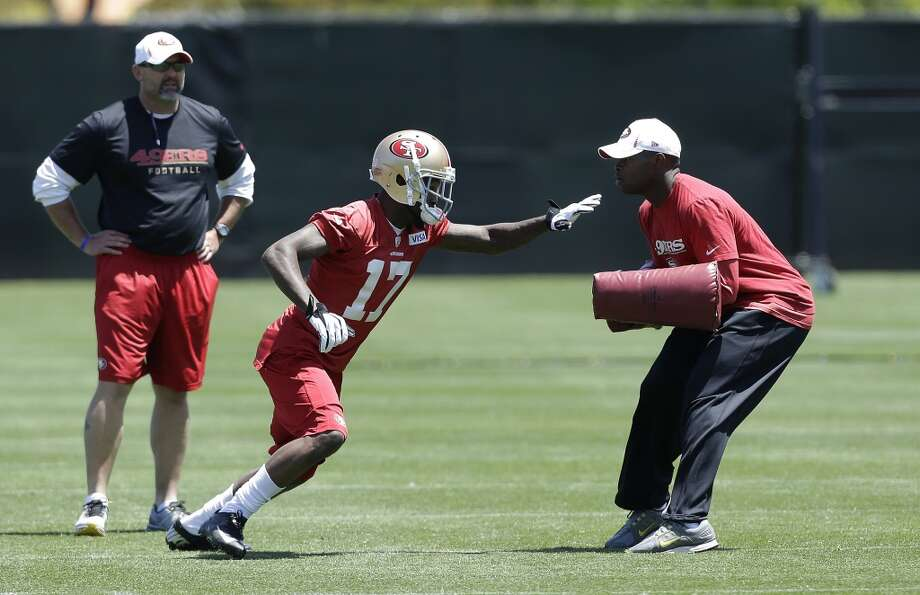 San Francisco 49ers wide receiver A.J. Jenkins (17) practices at an NFL football training camp in Santa Clara, Calif., Wednesday, May 22, 2013. (AP Photo/Jeff Chiu)