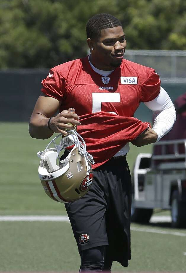 San Francisco 49ers quarterback B.J. Daniels walks off the practice field at an NFL football training camp in Santa Clara, Calif., Wednesday, May 22, 2013. (AP Photo/Jeff Chiu)