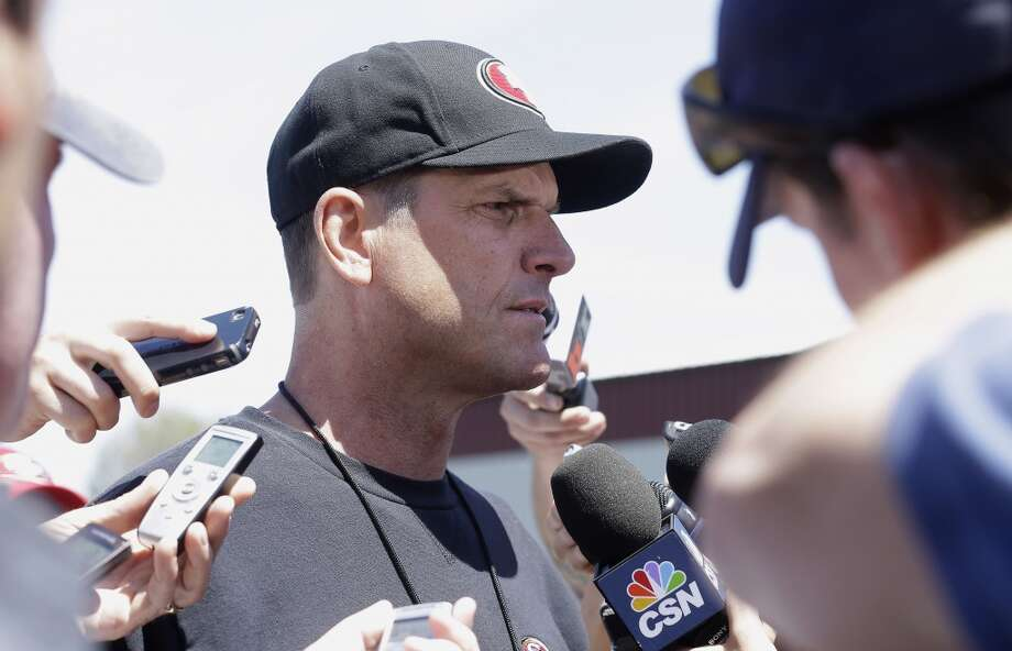 San Francisco 49ers head coach Jim Harbaugh speaks to reporters after practice at an NFL football training camp in Santa Clara, Calif., Wednesday, May 22, 2013. (AP Photo/Jeff Chiu)