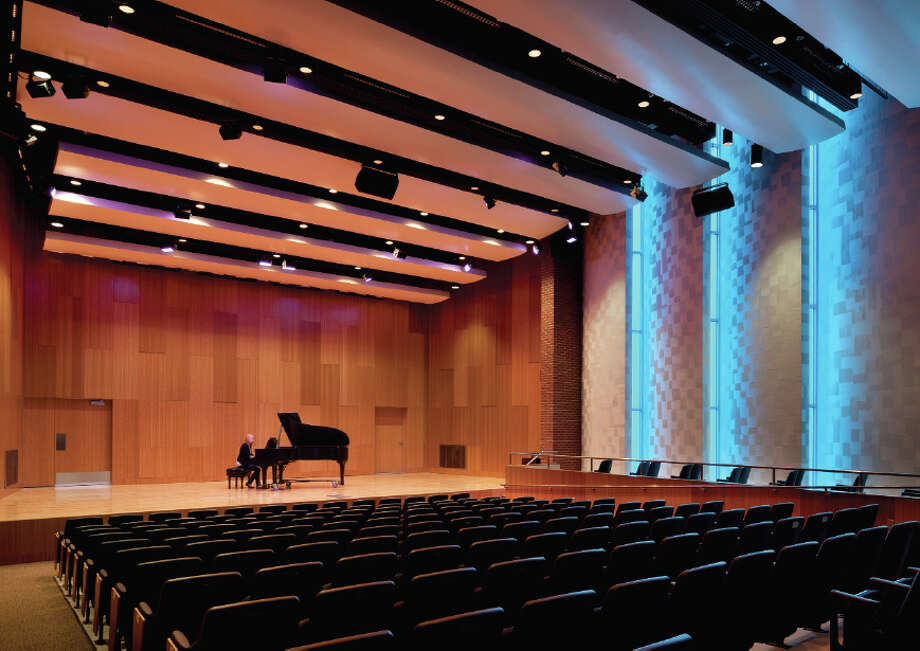 "In the music wing, a 150-seat recital hall features acoustically shaped ""gills."" Photo: Integrus Architecture"
