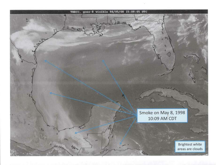 Smoke drifts north toward the Texas Gulf Coast from Mexico in these imagaes provided by the Texas Commission on Environmental Quality, which obtained them from the National Oceanic and Atmospheric Administration. Agricultural fires in Mexico and Central America contribute to the smoke plume. Photo: NOAA