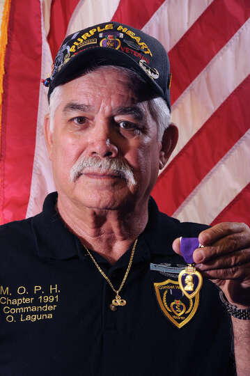 Octavio Laguna, 72, of Kirbyville received the Purple Heart from his time in the Army. Photo taken T