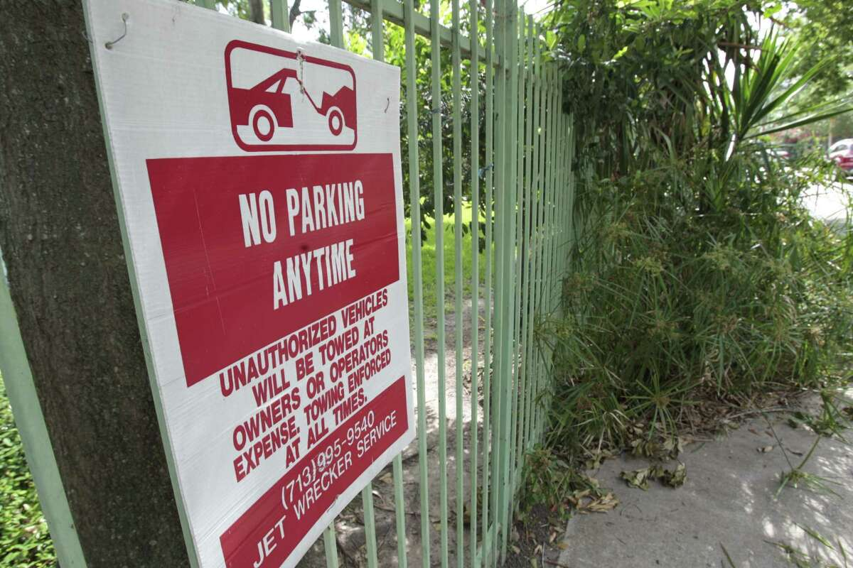 A no parking sign put up by a resident on Crooms St., between Asbury and Detering, Tuesday May 21, 2013. (Billy Smith / Chronicle)