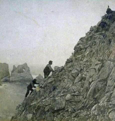 Entrepreneurs gather murre eggs on the Farallones in a historic photo. Foodstuffs were in big demand in Gold Rush days. Photo: -, Courtesy Of The Bancroft Library