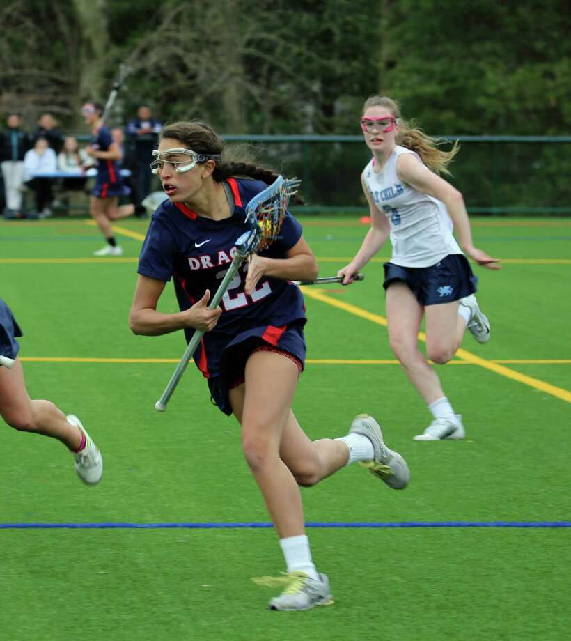 Junior Tia Carson (22) scored a goal in the Greens Farms Academy girls lacrosse team's 12-6 loss at Convent of the Sacred Heart in the FAA semifinals on May 20. Photo: Contributed Photo