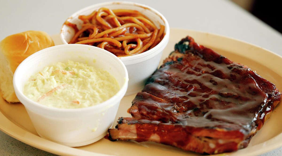 The Pork Ribs, BBQ Spaghetti, and Cole Slaw at A&R Bar-B-Que Thursday May 23, 2013 in Memphis, Tenn. n.