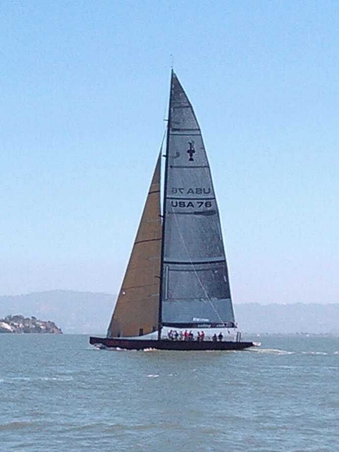 Emirates Team New Zealand puts its AC-72 boat through its paces on San Francisco Bay, May 24, 2013. (Al Saracevic/SF Chronicle)