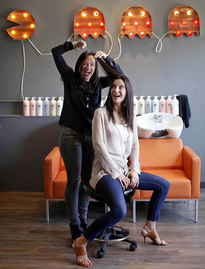 Jen Dolin Rinehart (left) and Heidi Gregory have a little fun at Prep, their S.F. salon for kids ages 6-18. Photo: Russell Yip, The Chronicle