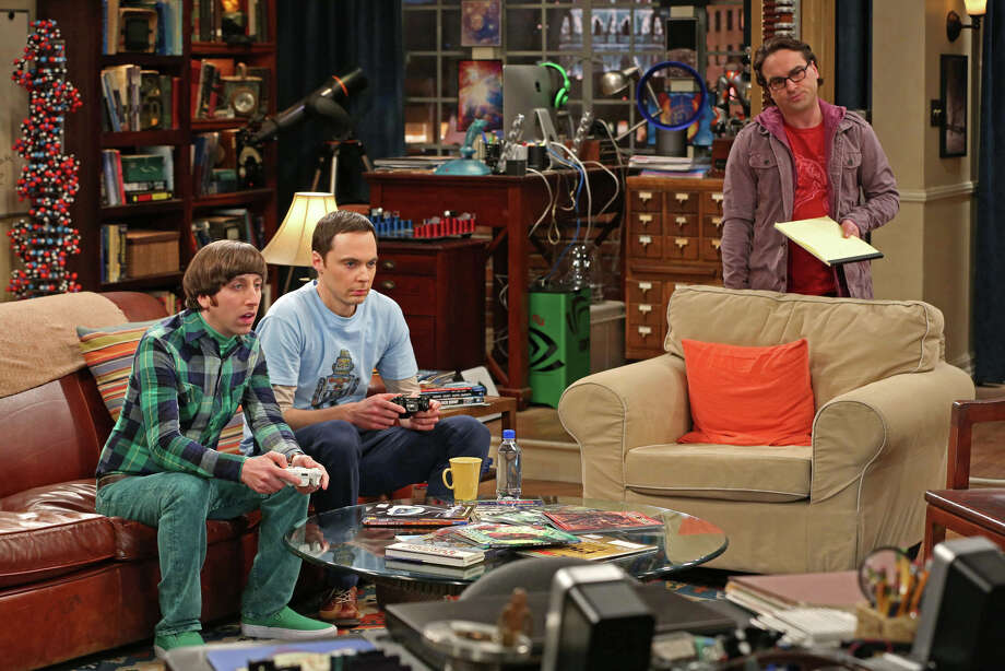 "This undated publicity image released by CBS shows, from left, Simon Helberg, Jim Parsons, and Johnny Galecki in a scene from ""The Big Bang Theory."" For the 10th time in 11 years, CBS was the nation's most-watched network, the Nielsen company said Thursday, May 23, 2013. TV's top comedy is ""The Big Bang Theory"" on CBS, averaging 15.6 million viewers per week.  (AP Photo/CBS, Michael Yarish, File) Photo: Michael Yarish, HOEP / CBS"