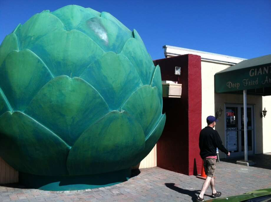 All choked up: There's no mistaking the entrance to the Giant Artichoke Restaurant in Castroville, which erected the 20-foot-tall concrete-and-rebar vegetable in 1963. The restaurant and adjacent produce stand are a short detour off Highway 156, near its  intersection with Highway 1 in Monterey County.