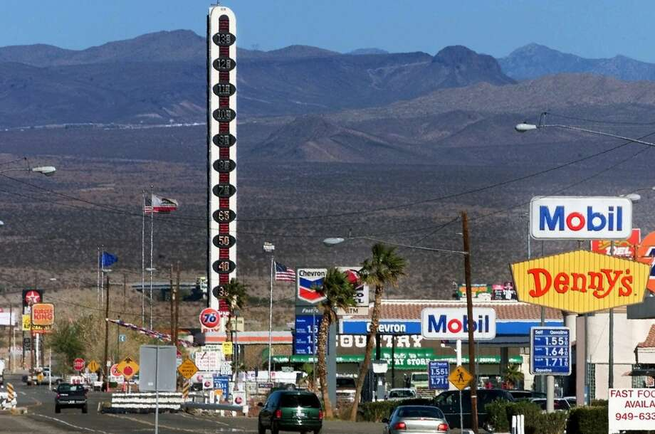 """Temperature rising:Touted as the """"world's tallest thermometer,"""" the 134-foot-high electric sign off I-15 in Baker was built to commemorate the record-setting 134 degrees Fahrenheit once recorded in nearby Death Valley. Considered by some residents to be an eyesore (surely they jest!), the sign has had its lights off for months and was put up for sale at the end of 2012."""