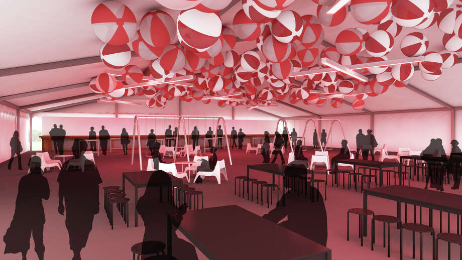 A rendering of the Fancy Pants Blaffer tent at Free Press Summer Fest reveals a red color scheme, inflatable beach balls and rafts hanging from the ceiling as well as a swing set in the middle of the floor.