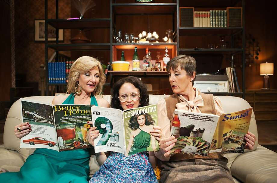 "Susi Damilano (left) plays Bev, a hostess trying to impress guests Angela (Allison Jean White) and Sue (Julia Brothers) with her upward mobility in ""Abigail's Party,"" written by Mike Leigh. Photo: Jessica Palopoli"